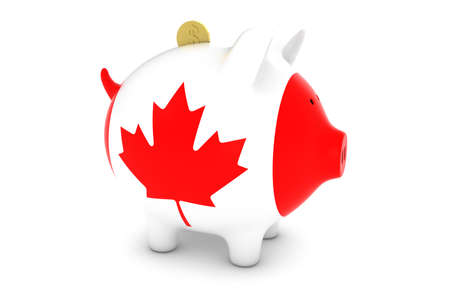 canadian flag: Canadian Flag Piggy Bank with Gold Dollar Coin 3D Illustration Stock Photo