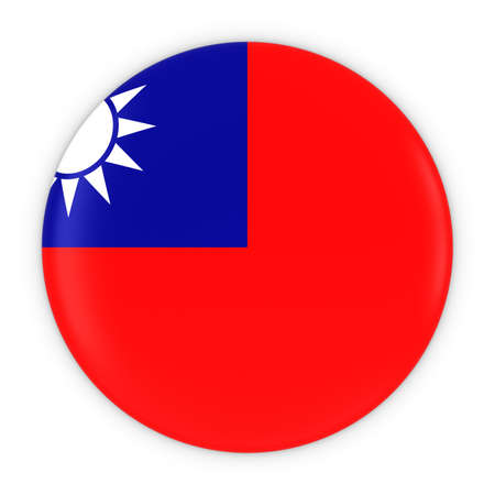 taiwanese: Taiwanese Flag Button - Flag of Taiwan Badge 3D Illustration