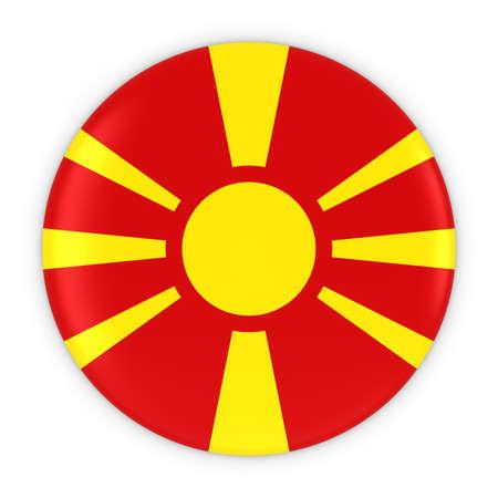 macedonian flag: Macedonian Flag Button - Flag of Macedonia Badge 3D Illustration