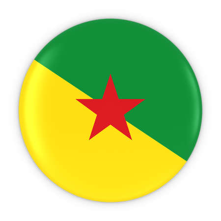french guiana: French Guianese Flag Button - Flag of French Guiana Badge 3D Illustration