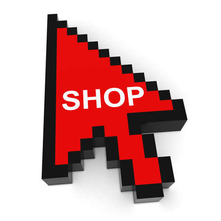 pixelated: Online Shopping Pixelated Arrow Cursor with Shop Text 3D Illustration Stock Photo