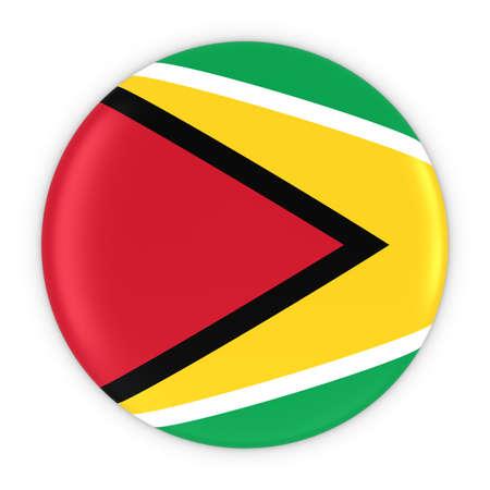 guyanese: Guyanese Flag Button - Flag of Guyana Badge 3D Illustration