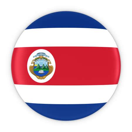 costa rican flag: Costa Rican Flag Button - Flag of Costa Rica Badge 3D Illustration