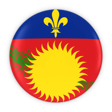 three dimensional shape: Guadeloupe Flag Button - Flag of Guadeloupe Badge 3D Illustration Stock Photo