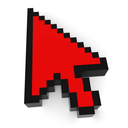 pixelated: Arrow Cursor Pixelated Red Computer Pointer 3D Illustration Stock Photo