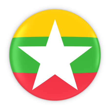 burmese: Burmese Flag Button - Flag of Myanmar Badge 3D Illustration