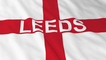 bandiera inglese: Bandiera inglese con il Leeds illustrazione del testo 3D Archivio Fotografico