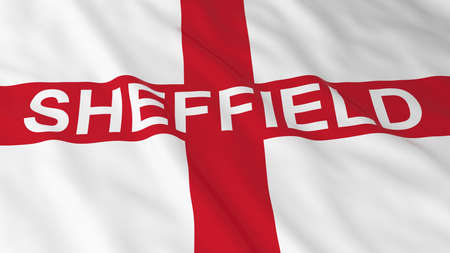 text 3d: English Flag with Sheffield Text 3D Illustration Stock Photo