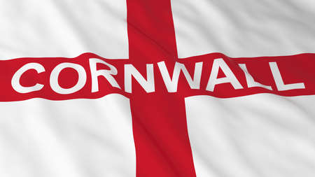 text 3d: English Flag with Cornwall Text 3D Illustration Stock Photo