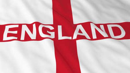 bandiera inglese: Bandiera inglese con l'Inghilterra l'illustrazione del testo 3D