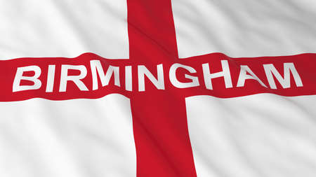 bandera inglesa: Bandera de Ingl�s con el Birmingham ejemplo del texto 3D