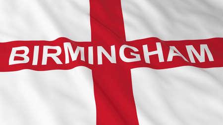 english flag: English Flag with Birmingham Text 3D Illustration