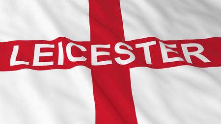 drapeau anglais: Drapeau anglais avec Leicester texte 3D Illustration Banque d'images