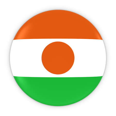 three dimensional shape: Nigerien Flag Button - Flag of Niger Badge 3D Illustration
