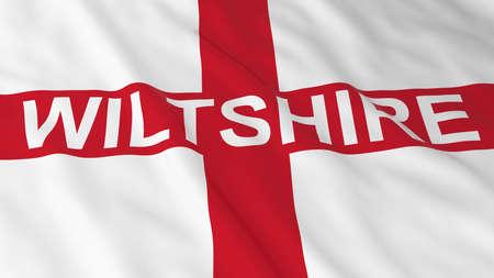 bandiera inglese: Bandiera inglese con Wiltshire l'illustrazione del testo 3D