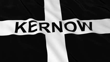 text 3d: Cornish Flag with Kernow Text 3D Illustration