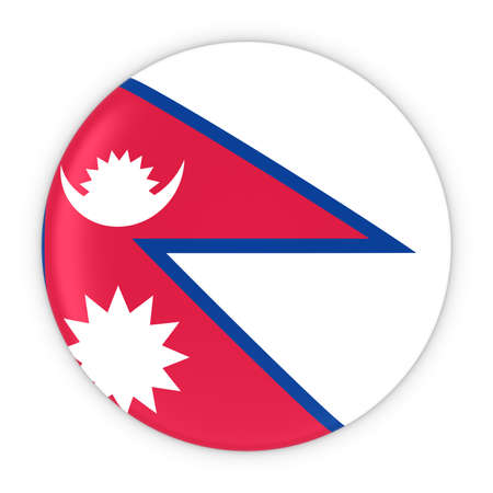 nepal: Nepalese Flag Button - Flag of Nepal Badge 3D Illustration
