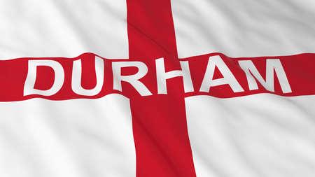 bandiera inglese: Bandiera inglese con Durham illustrazione del testo 3D