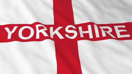 english flag: English Flag with Yorkshire Text 3D Illustration Stock Photo