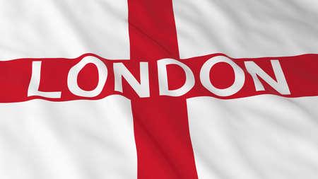 english flag: English Flag with London Text 3D Illustration