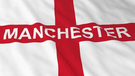 bandiera inglese: Bandiera inglese con il Manchester l'illustrazione del testo 3D Archivio Fotografico