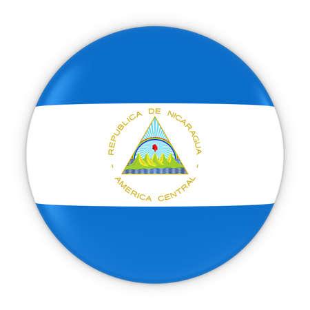 nicaraguan: Nicaraguan Flag Button - Flag of Nicaragua Badge 3D Illustration Stock Photo
