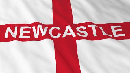 bandiera inglese: Bandiera inglese con il Newcastle l'illustrazione del testo 3D