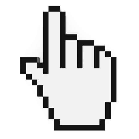 Cursore a mano Pixelated bianco e nero illustrazione Computer puntatore 3D Archivio Fotografico