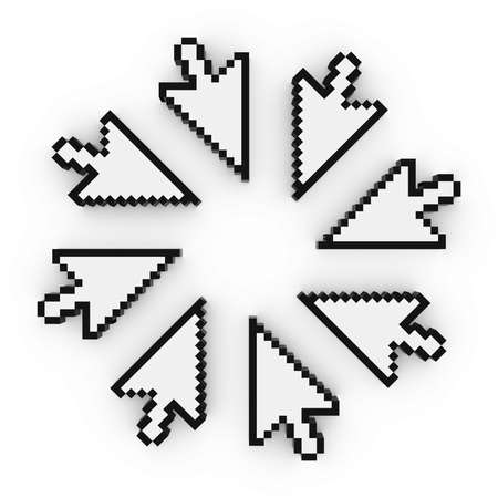 pixelated: Circle of Pixelated Arrow Cursor Computer Pointers 3D Illustration