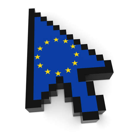 blocky: EU Flag Arrow Cursor Pixelated Computer Pointer 3D Illustration