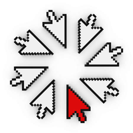 pixelated: Circle of Pixelated Arrow Cursors with Red Computer Pointer 3D Illustration