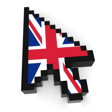 pixelated: UK Flag Arrow Cursor Pixelated Computer Pointer 3D Illustration