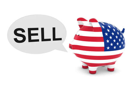 us coin: US Flag Piggy Bank with Sell Text Speech Bubble 3D Illustration