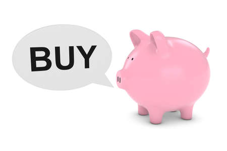 financial advice: Piggy Bank with Buy Text Speech Bubble 3D Illustration Stock Photo