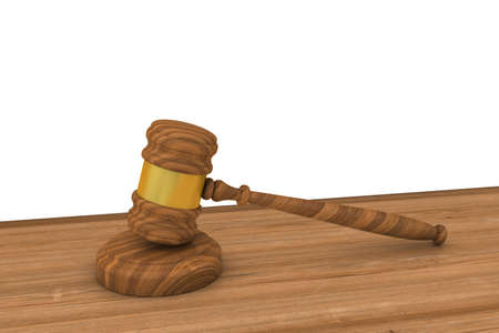 mallet: Judges Gavel on Wooden Desk with White Background Copy Space 3D Illustration Stock Photo