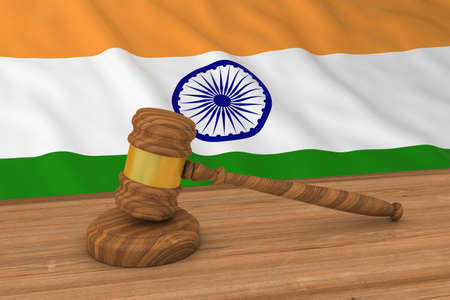 courthouse: Indian Law Concept - Flag of India Behind Judges Gavel 3D Illustration
