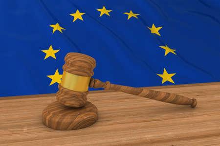 mallet: European Law Concept - Flag of Europe Behind Judges Gavel 3D Illustration
