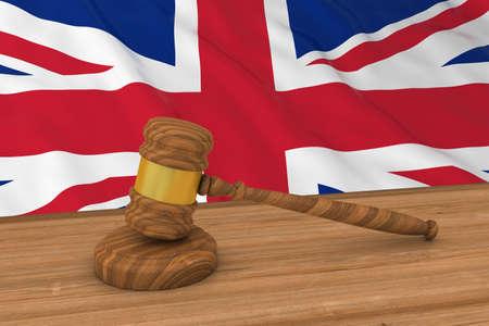 mallet: British Law Concept - Flag of the United Kingdom Behind Judges Gavel 3D Illustration