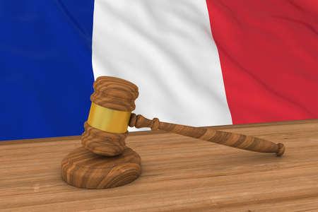 mallet: French Law Concept - Flag of France Behind Judges Gavel 3D Illustration