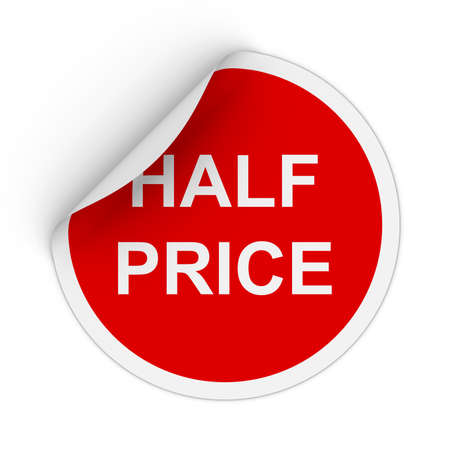 half price: Half Price Text Red Circle Sticker with Peeling Corner 3D Illustration Stock Photo
