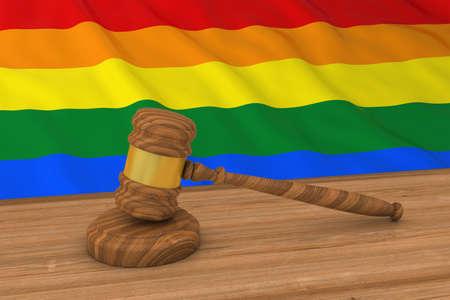 gay pride flag: Homosexual Rights Concept - Gay Pride Flag Behind Judges Gavel 3D Illustration
