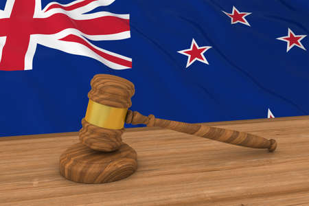 judges: New Zealand Law Concept - Flag of New Zealand Behind Judges Gavel 3D Illustration Stock Photo