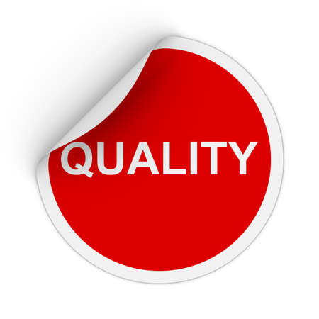 peeling corner: Quality Text Red Circle Sticker with Peeling Corner 3D Illustration Stock Photo