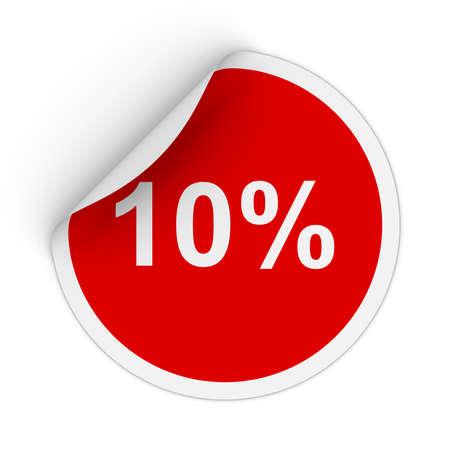 peeling corner: 10% - Ten Percent Red Circle Sticker with Peeling Corner 3D Illustration