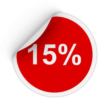 fifteen: 15% - Fifteen Percent Red Circle Sticker with Peeling Corner 3D Illustration