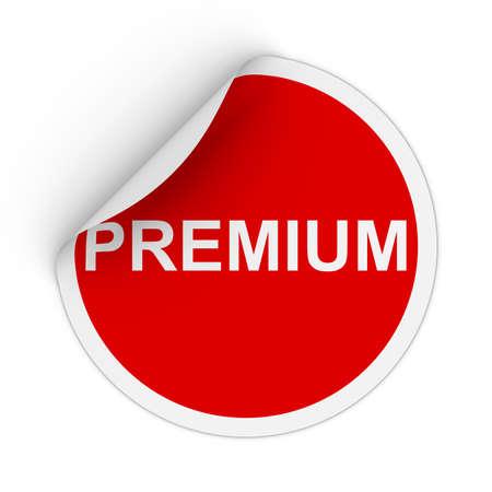 peeling corner: Premium Text Red Circle Sticker with Peeling Corner 3D Illustration Stock Photo