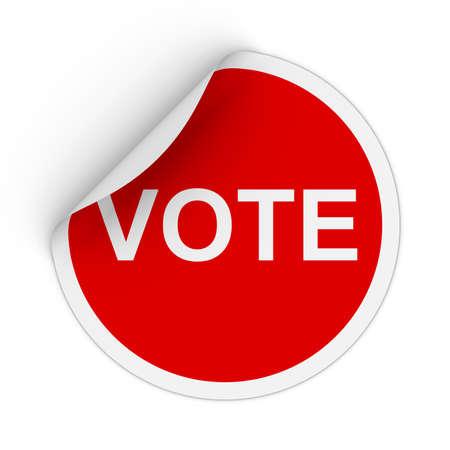 peeling corner: Vote Text Red Circle Sticker with Peeling Corner 3D Illustration