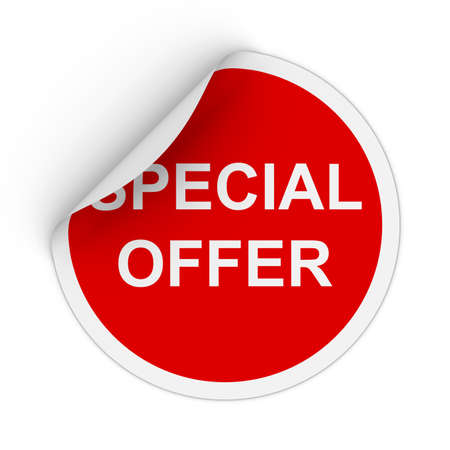 peeling corner: Special Offer Text Red Circle Sticker with Peeling Corner 3D Illustration