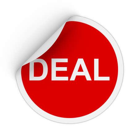 peeling corner: Deal Text Red Circle Sticker with Peeling Corner 3D Illustration