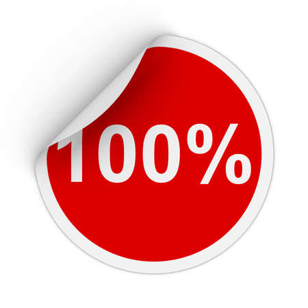 one hundred: 100% - One Hundred Percent Red Circle Sticker with Peeling Corner 3D Illustration